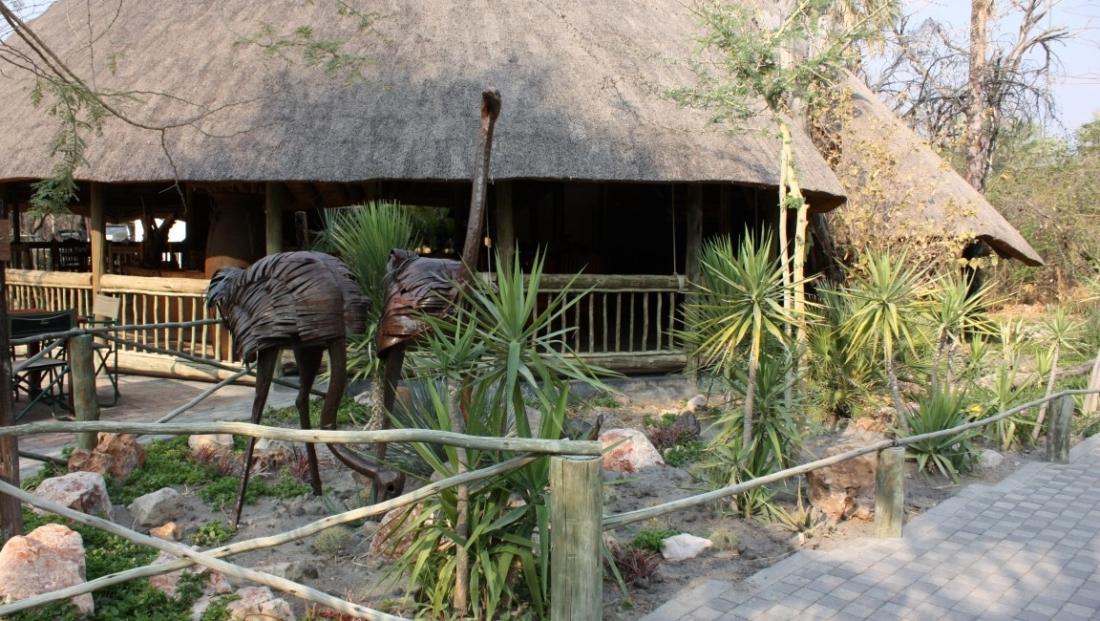 Nata Lodge - Bronzen beelden van struisvogels in tuin