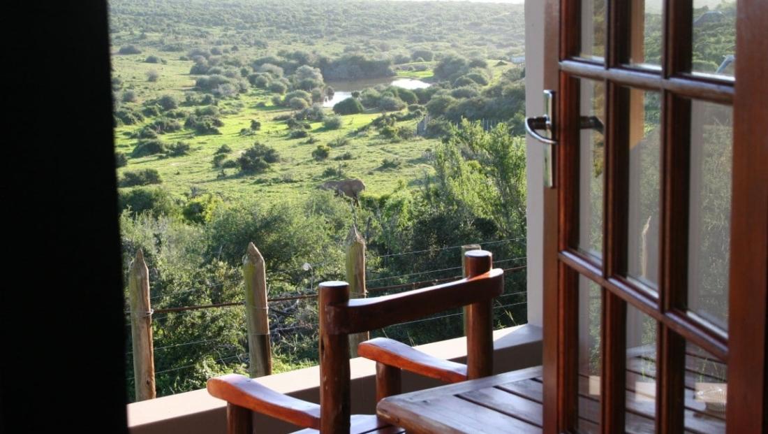 Addo Elephant NP - uitzicht vanuit huisje