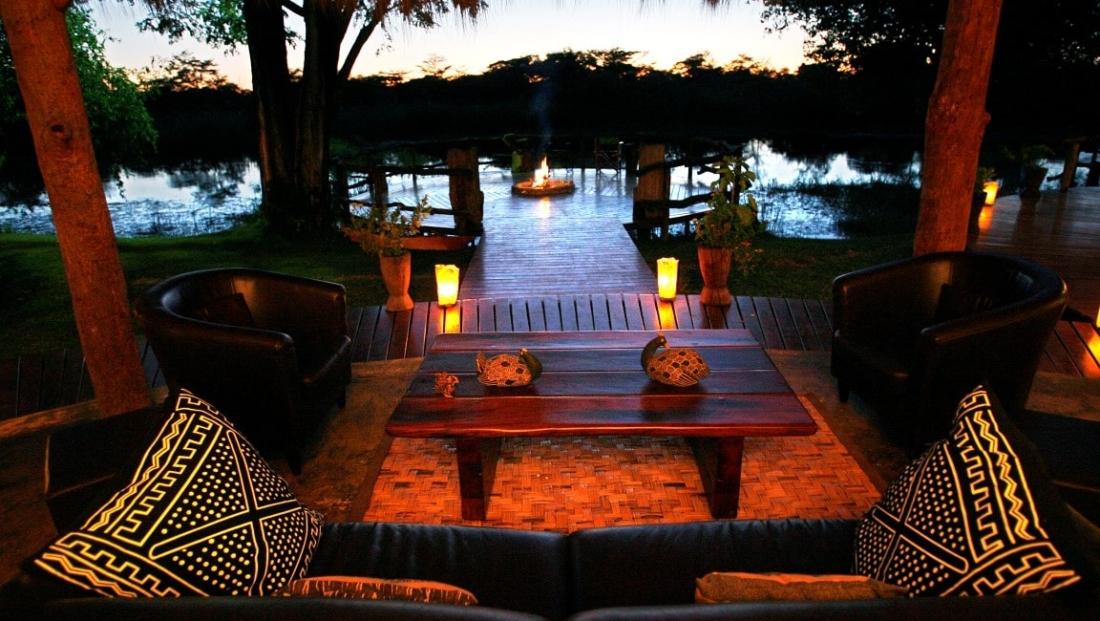 Camp Kwando - Uitzicht vanaf lounge