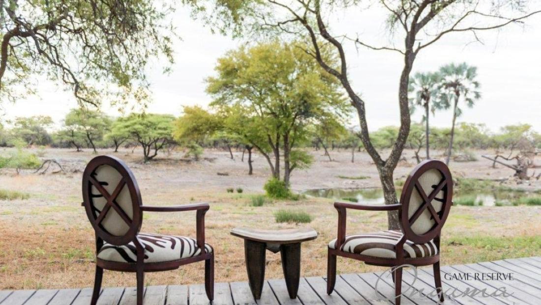 Onguma Tented Camp - uitzicht op drinkplaats