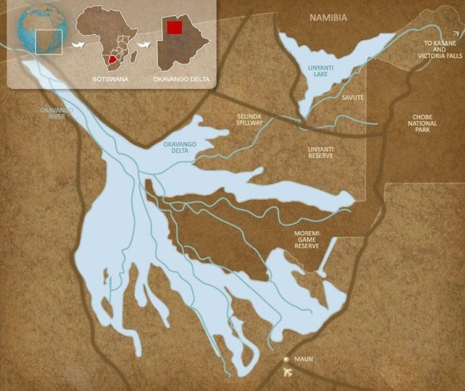 Kaart Okavango Delta, Botswana - Op vakantie naar Botswana? Dit moet je gezien hebben!