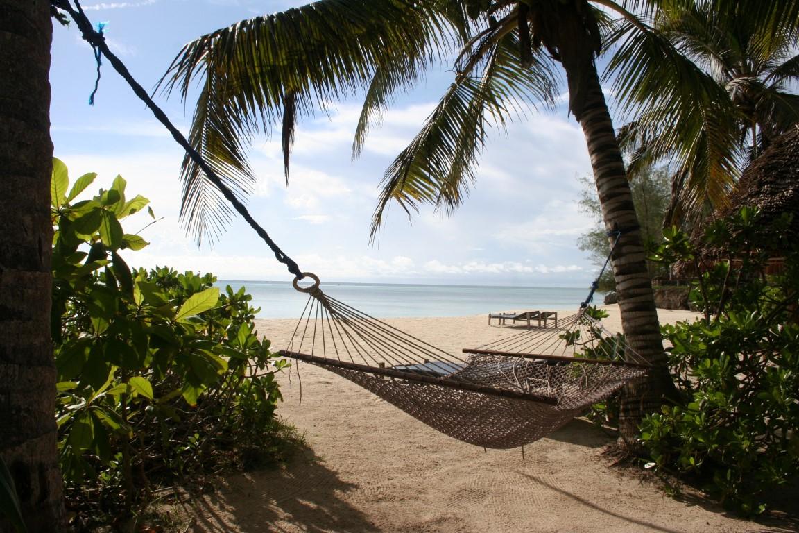 De mooiste huwelijksreisbestemmingen in Afrika - hangmat, palmbomen, strand, zee, Zanzibar, Tanzania