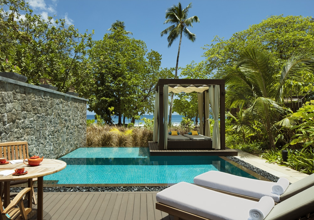 Out in Africa - zwembad, H resort, Beau Vallon, Mahe, Seychellen, Afrika