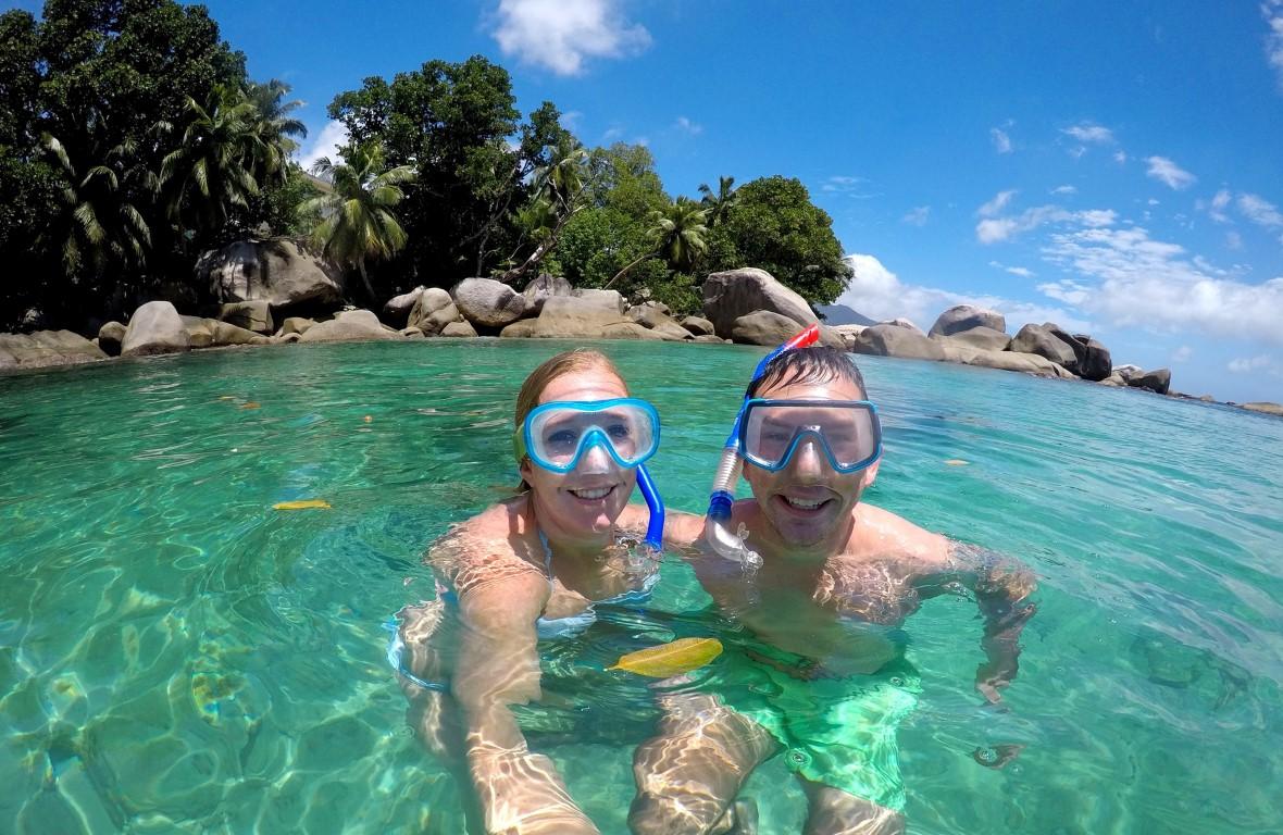 Out in Africa - snorkelen, zee, Bliss Hotel, Mahe, Seychellen, Afrika