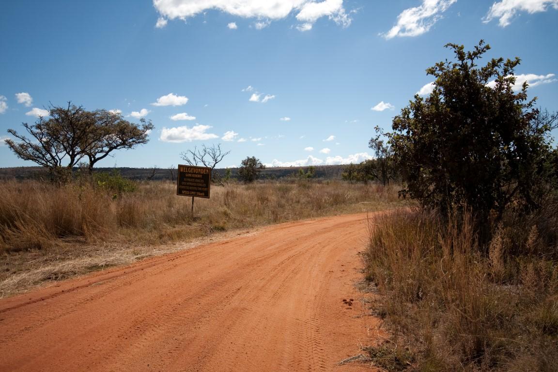 Onverharde weg in Welgevonden Game Reserve