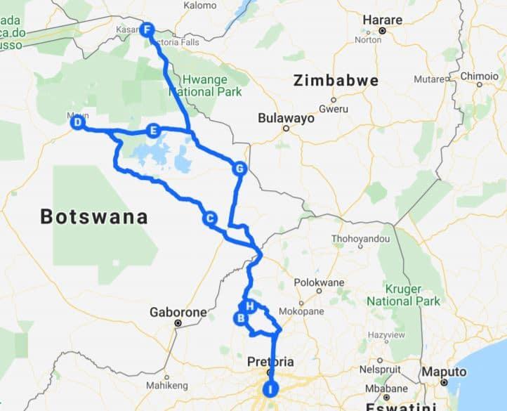 Kamperen Botswana: Starten en eindigen in Johannesburg kan ook.