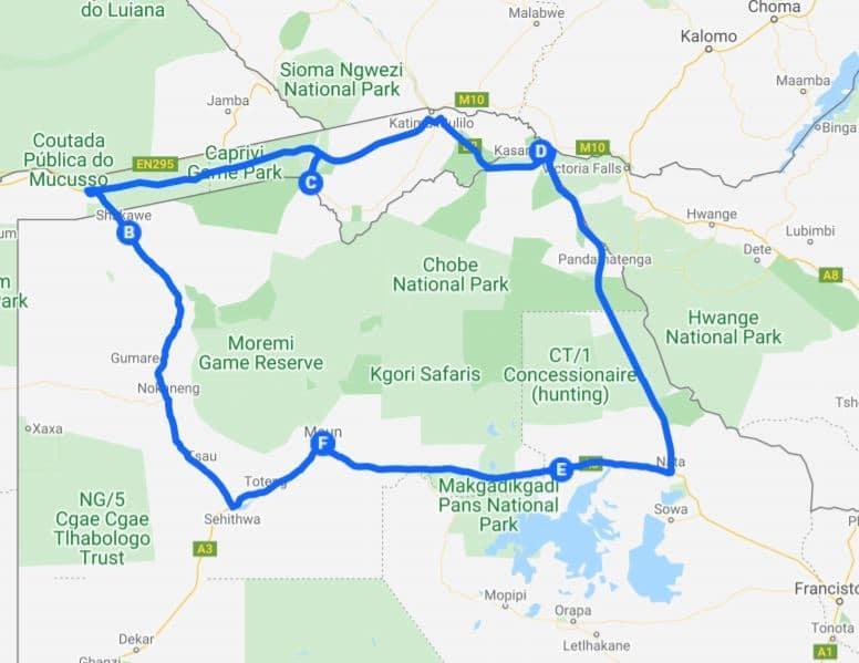 Kamperen Botswana: Een cirkelroute met start en eind in Botswana.