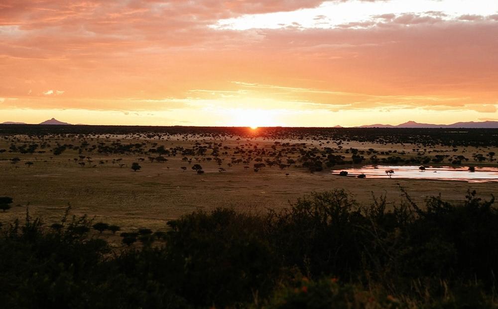 Erindi Game Reserve -zonsopgang - zonsondergang