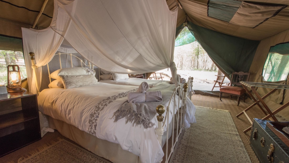 KwaMbili Lodge - Safari tent binnenkant