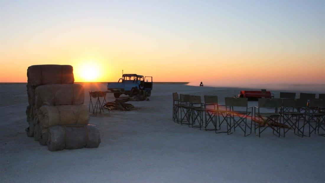 Makgadikgadi Zoutpannen - Het kamp staat klaar