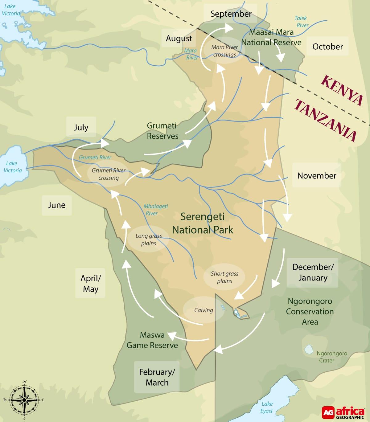 Serengeti NP - Migratie kaart